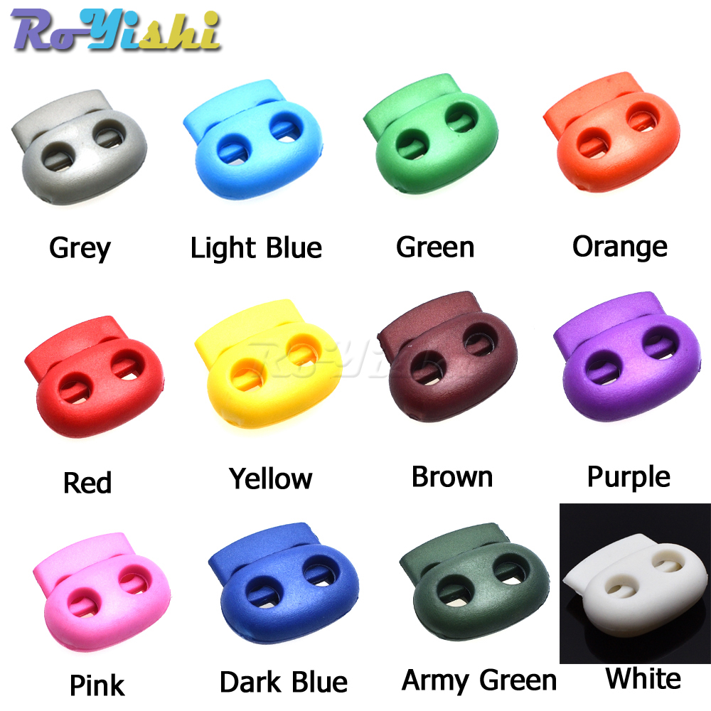 1000pcs pack Mixed Colorful 5mm Hole Plastic Stopper Cord Lock Bean Toggle Clip Apparel Shoelace Sportswear