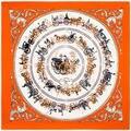 100 см * 100 см 100% Twill Шелковый Евро Бренд Королевская Семья Карете Поездки Женщин Платок Весна Femal шарфы Шаль 6122