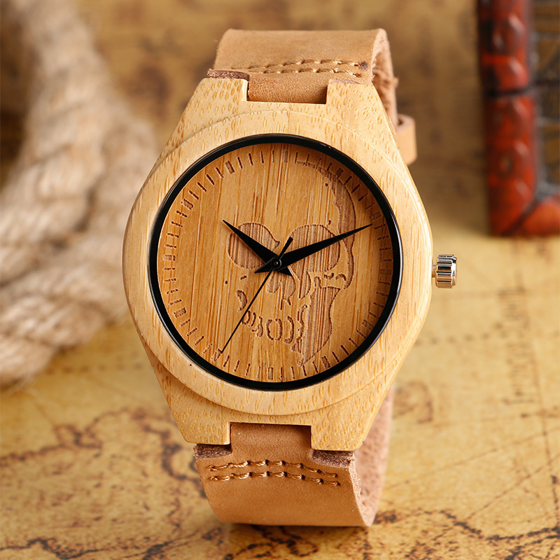 Fashion Men's Watches Wood Bamboo Cool Creative Skull Gothic Style Quartz Watch Male Clock Casual Leather Wristwatches Gift