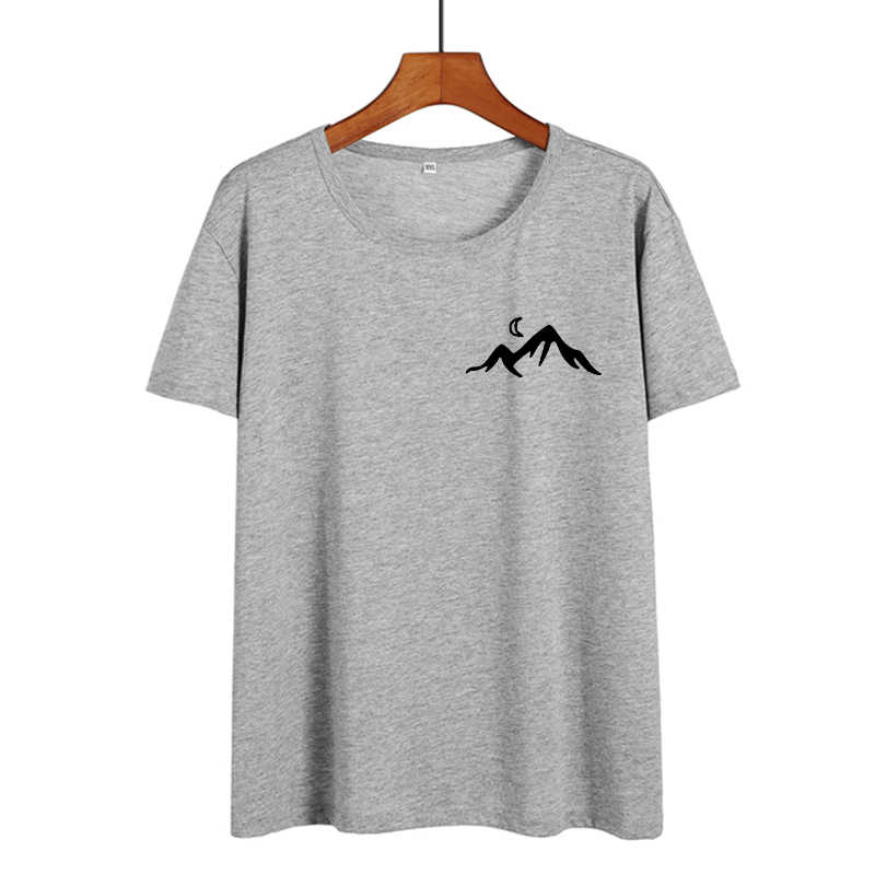 Hiking Camping Women Tops Mountain Printed Pocket T-shirt Tumblr Hipster Black White Cotton T Shirt Casual Tee Shirt Femme