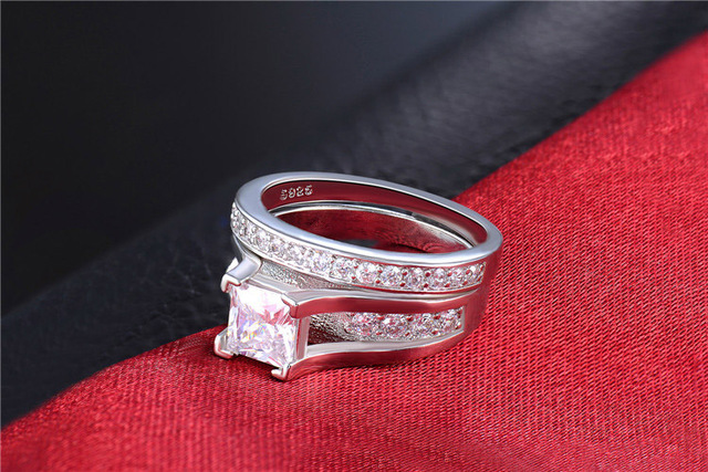 H:HYDE Silver Color Wedding Ring Sets for women bridal luxury rings vintage bague engagement bijoux for lady Zircon 2 Pieces