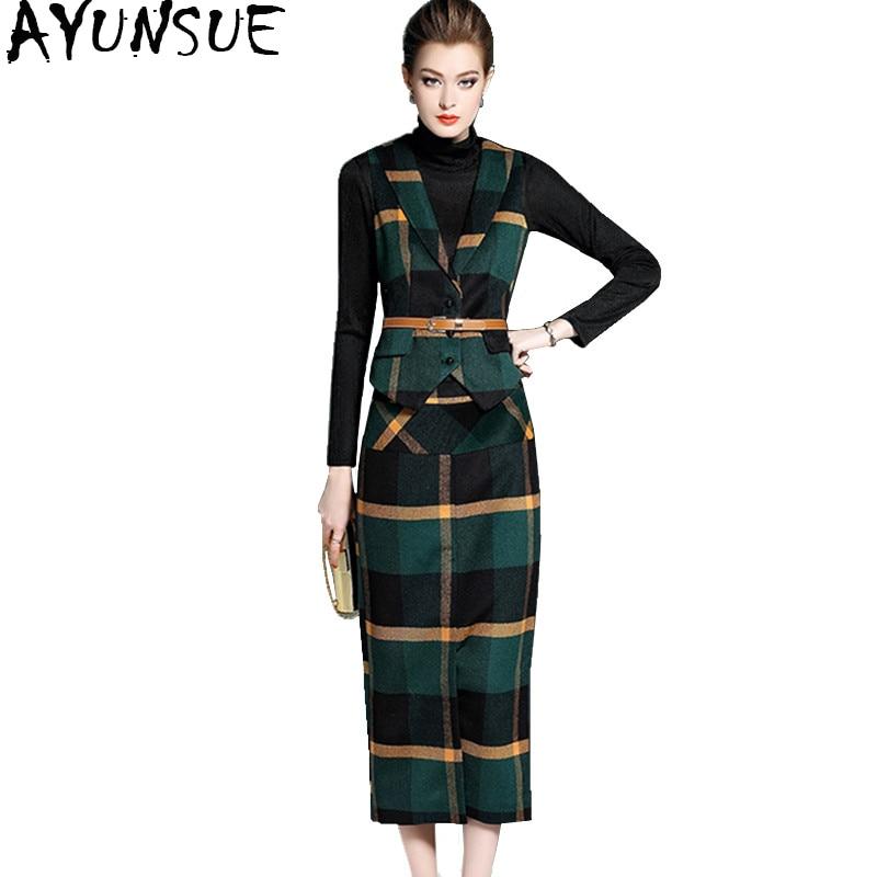 AYUNSUE 2018 Autumn Women Skirts Woolen Plaid Pencil Skirt faldas mujer Long Skirt + Vest Tops 2 Pieces Set Women's Suits YQ1028 bar iii women s basic core pencil skirt