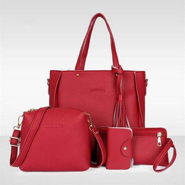 4pcs Women Leather Handbag Ladies Shoulder Bags Tote Purse Messenger Satchel Set