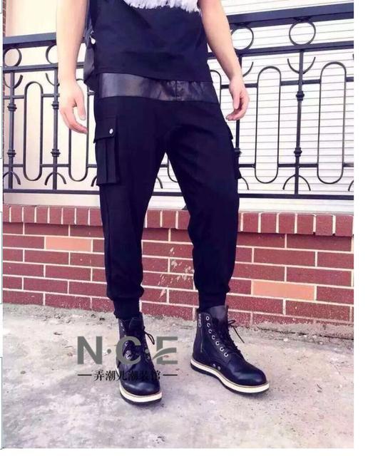 27-44 Рыцарь лоскутное кожаные Штаны мужская мода тонкий шаровары черный хлопок плюс размер брюки певица костюмы