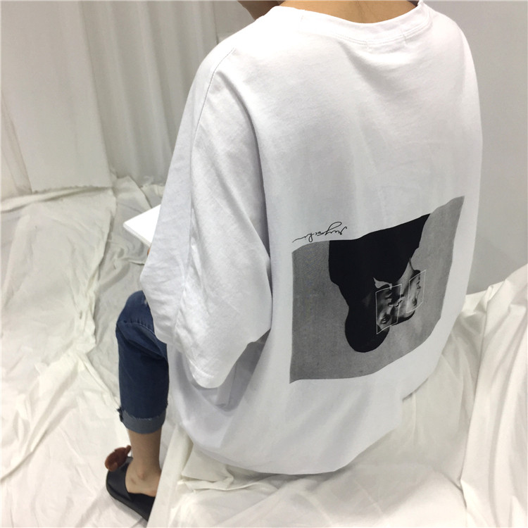 2017 Summer Oversize Loose Character Printed Back White Simple Short Sleeve Female T-shirts
