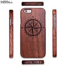 Monila Роскошные Урожай Ретро Компас Настоящее Ручной Bamboo Wood Case For Iphone 5 5S SE 6 6s 6 Плюс 6s Плюс Резьба По Дереву Case
