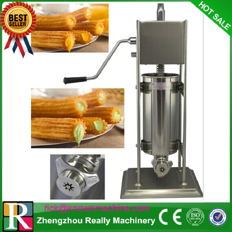 manual type churro maker / stainless steel 5L churro making machine with three moulds and nozzles commercial 5l churro maker machine including 6l fryer