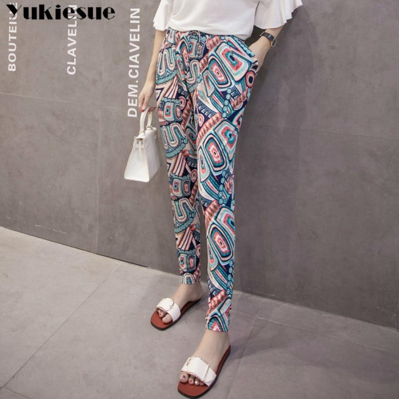 summer chiffon printed beach women's pants capris with high waist harem pants for women trousers woman pants female Plus size