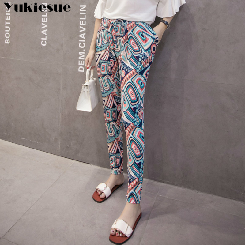 summer chiffon printed beach women's   pants     capris   with high waist harem   pants   for women trousers woman   pants   female Plus size