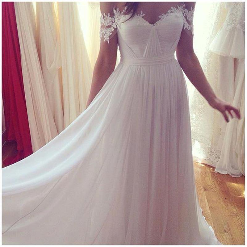 Made Off Robes Blanc épaule A Longue De Élégant ligne Simple Size Plus Mariée Custom 6xPHWw