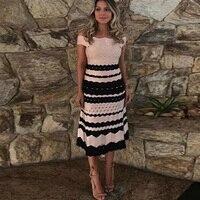 Summer Women Bandage Dress 2018 New Fashion Jacquard Slash Nekc Short Sleeve Celebrity Evening Party Dress Vestidos Wholesale