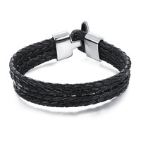 New European And American Jewelry Wholesale Retro Personality Wild Four Anchor Buckle Leather Bracelet Gift PH945