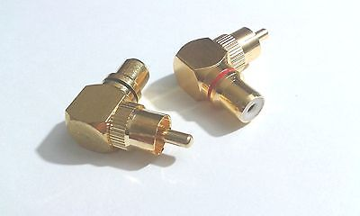 40pcs Brass RCA right angle connector plug adapters M/F male to female 90 degree купить