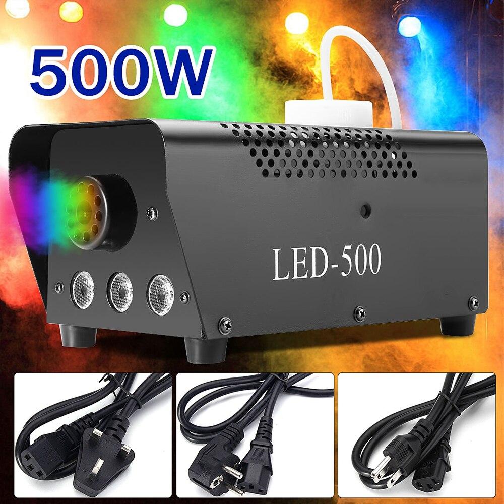 500W Remote Control Fog Smoke Machine LED Disco Light Christmas Lamp RGB Smoke Projector DJ Party
