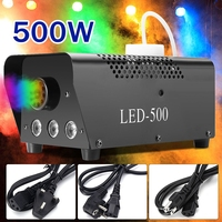 500W Remote Control Fog Smoke Machine LED Disco Light Christmas Lamp RGB Smoke Projector DJ Party Stage Effect Christmas Decor