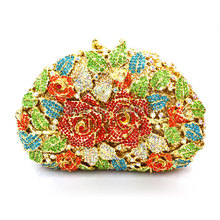 Brand Clutch Luxury Crystal Rose figure Women Clutch Bag Evening bag Handbag For Party Prom box
