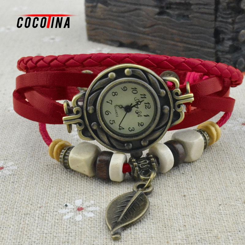 19658c7b1c2b Cocotina nueva llegada de Corea moda casual hoja mujeres pulsera reloj  vintage pu cuero estudiantes mujeres reloj de cuarzo   L05426