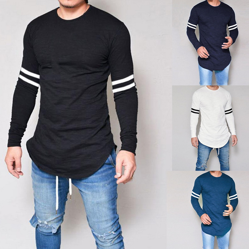 Oeak 2019 Men Slim Striped Long Sleeve   T     shirt   Spring Men Basic Tops Fitness O neck Bodybuilding   T     shirt   Fashion Men Tops