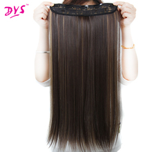 Deyngs 5clips in Hair Extensions Silky Straight 24Inch Synthetic Fake False Hair