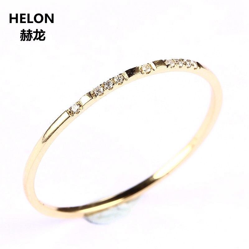 Takı ve Aksesuarları'ten Halkalar'de Katı 14 k Sarı Altın (AU585) SI/H Yuvarlak kesim 100% Diamonds Nişan Yüzüğü Moda Güzel Takı Zarif unirque Hediye Alyans'da  Grup 1