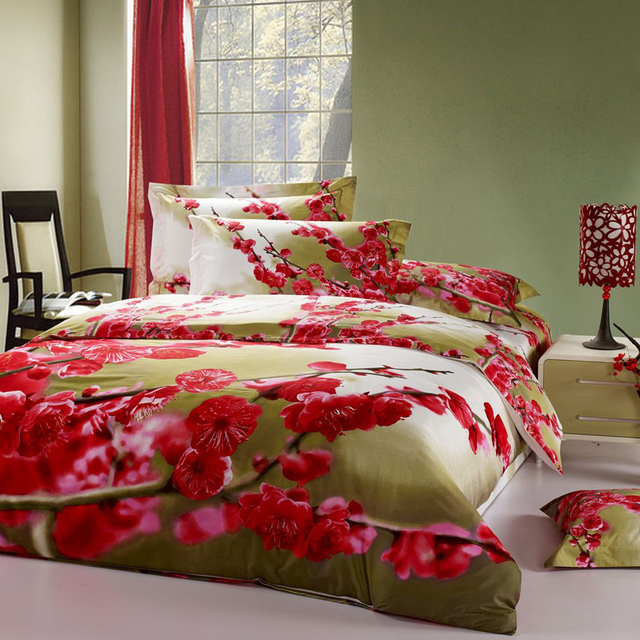 3D Peach Blossoms Bedding Set For Full Queen Bed,Floral Print Bedroom Set  4pcs