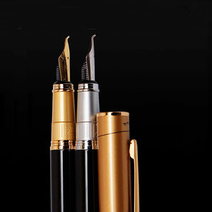 Image 1 - Picasso 906 Athens Dynasty Fine Nib / Calligraphy Bent Nib Fountain Pen Original Box Optional Black with Noble Golden/Silver Cap