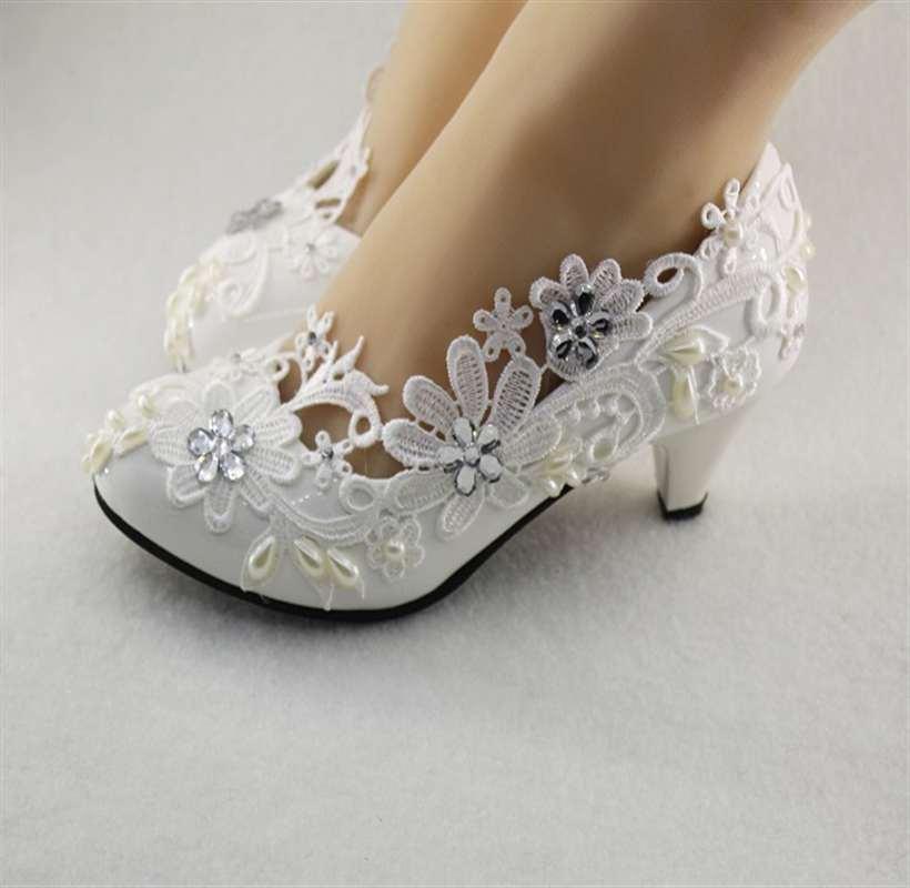 New white light ivory lace crystal Wedding shoes Bridal heels pumps цены онлайн