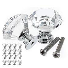 Стиль, 16 штук, ручка для ящика, стеклянная ручка с кристаллами, алмазная ручка, диаметр 30 мм, для шкафов, мебели