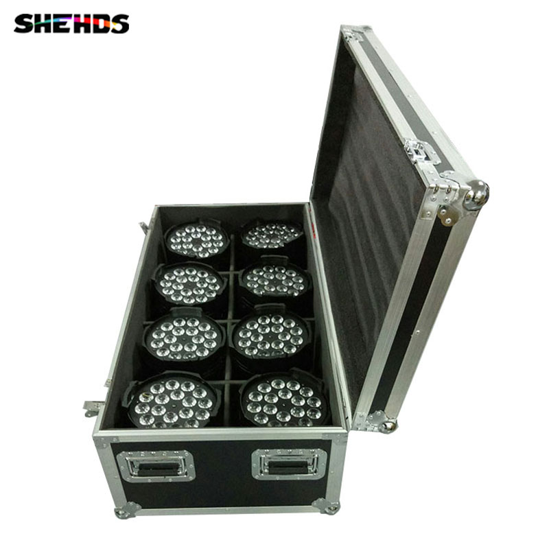 Flight Case with 4/8 pieces LED Par Can 18x15W RGBWA  Lighting 5IN1 LED Light for Disco KTV Party Fast Shipping flight case with 4 pieces led par 18x15w rgbwa light dmx stage light business light professional par can for party ktv disco dj