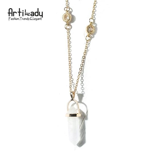 Artilady new design multi color quartz pendant necklace gold chain