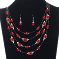 New Arrival Luxurious High Quality Stainless Steel Multilayer African Beads Necklace Earrings Women  Exquisite jewelry set