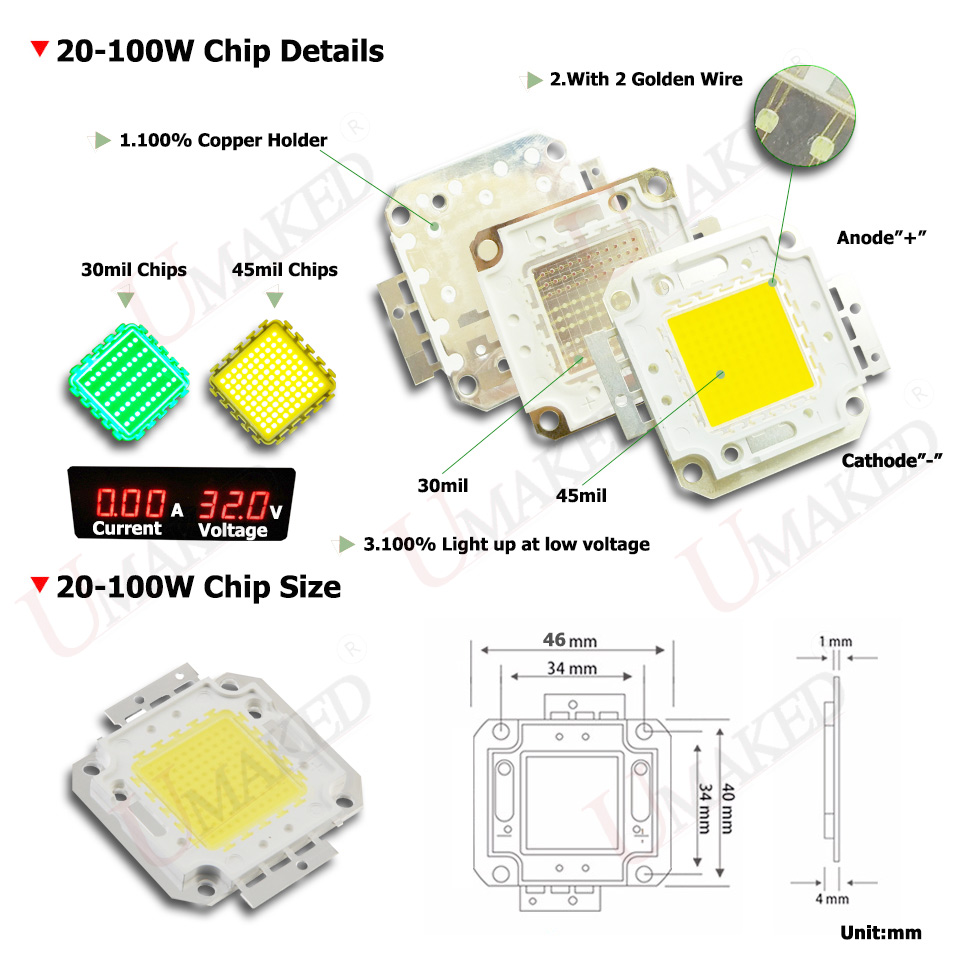Umaked High Power Led Chips 1w 3w 5w 10w 20w 30w 50w 100w Bulb Lamp Wiring Diagram Smd Cob Diodes Warm White Cool Color Spot Light Source In Bulbs Tubes From