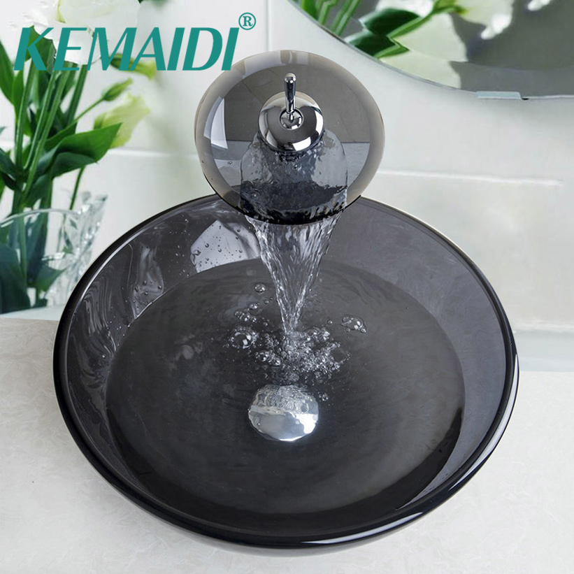KEMAIDI Luxury Tempered Waterfall Glass Sink countertop washing basin art Hand Painting  Basin Sink Bathroom Sink Glass Faucet tempered black glass waterfall bathroom basin faucet