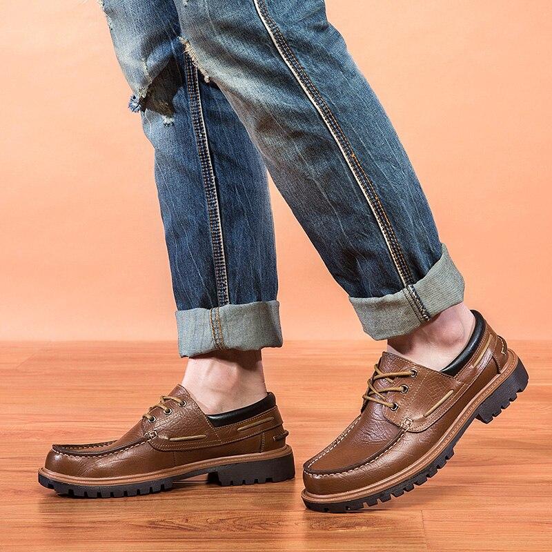 Décontractées brown Talon Croûte Bateau Black Britannique Low À Hommes Plat Lacets Chaussures Top Mode De Printemps Automne Bout Rond 25d50 Cuir PZkiOXu