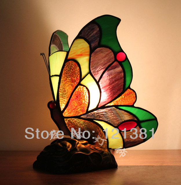 Antique Tiffany Style Accent Lamp Butterfly Lamp Small