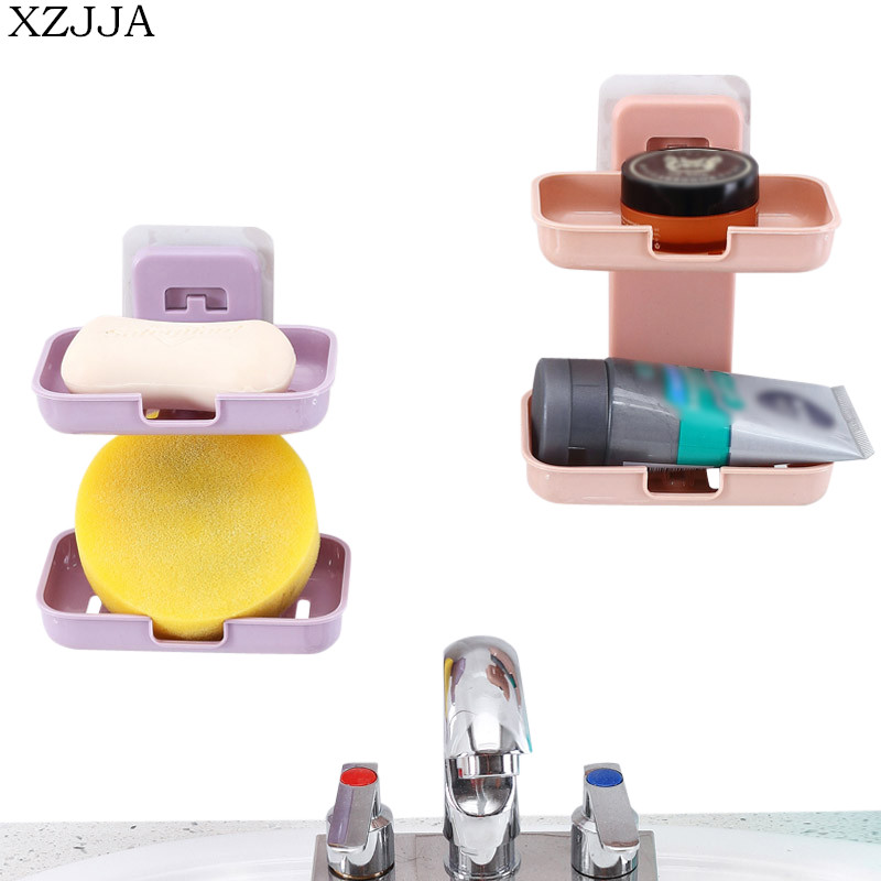 XZJJA Creative Wall Mounted Soap Box Jewelry Storage Box Kitchen Sponges Drain Rack Bathroom Sundries Organize