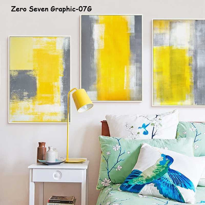 07G Yellow White Gray Abstract Painting A4 A3 Canvas Art Painting Print Poster Picture Office Wall Lounge Decorative Mural