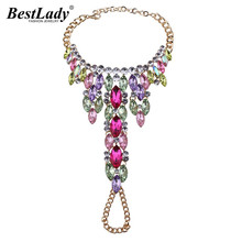 Best lady Custom Colorful Rhinestone Anklet Bracelet Women Pied Foot Jewelry Sexy Leg Chain Sandals Boho Beach  Hot Anklets 3158
