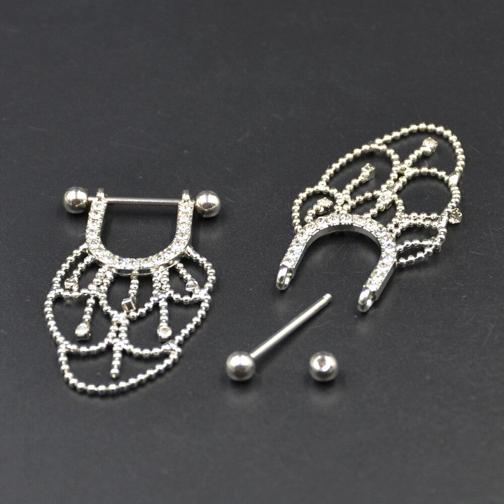 PAIR Bedah Baja CZ Kristal Chandelier Jatuhkan Nipple Cincin Barbell - Perhiasan fashion - Foto 2