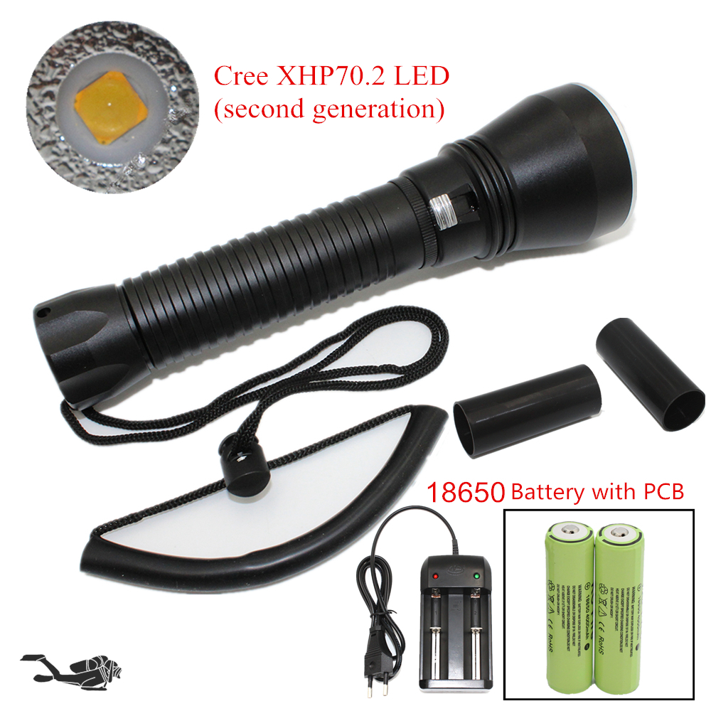 Super Brightness Diving Flashlight Cree XHP70 LED Waterproof Dive Flashlight Yellow/White Light Tactical spearfishing Torch powerful handlight outdoor tactical flashlight 1300lm tactical led flashlight torch outdoor waterproof aluminum alloy