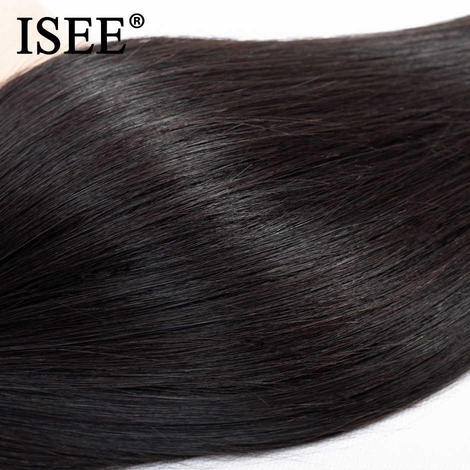 Бразильские прямые пучки волос плетение 100% Необработанные натуральная натуральные волосы расширение 10-36 дюймов можно купить 1/3/4bundles ISEE волос