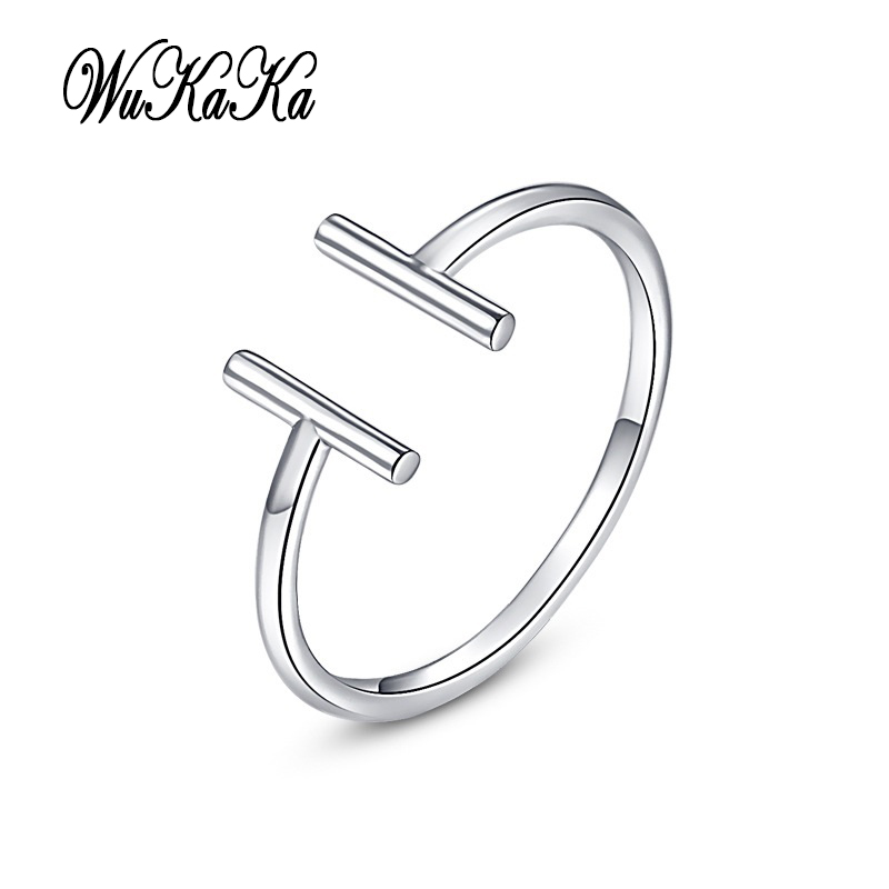 2018 Cute Double T Open Ring For Girl Woman Fashion Adjustable Tail Ring Luxury Big Brand Jewelry Design for girl gifts