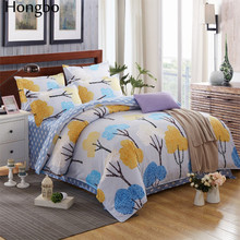 Hongbo Classic Bedding Set Flower Stripe Pattern Bed Aloe Cotton Duvet Cover Pastoral Sheet