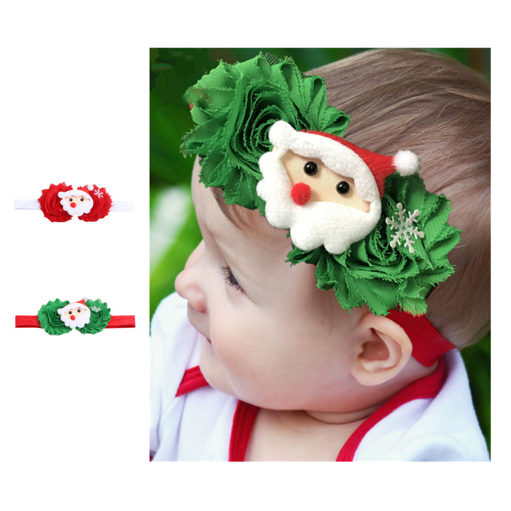 2017 gift Baby Headband Scrunchies Christmas Gifts For Gril Headband 2PC Kid Baby Toddler Infant Christmas Hair Accessories ov9