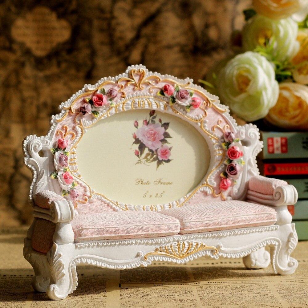 europe retro vintage pink flower sofa photo frame picture resin 3 5 39 39 x 5 39 39 home wedding. Black Bedroom Furniture Sets. Home Design Ideas