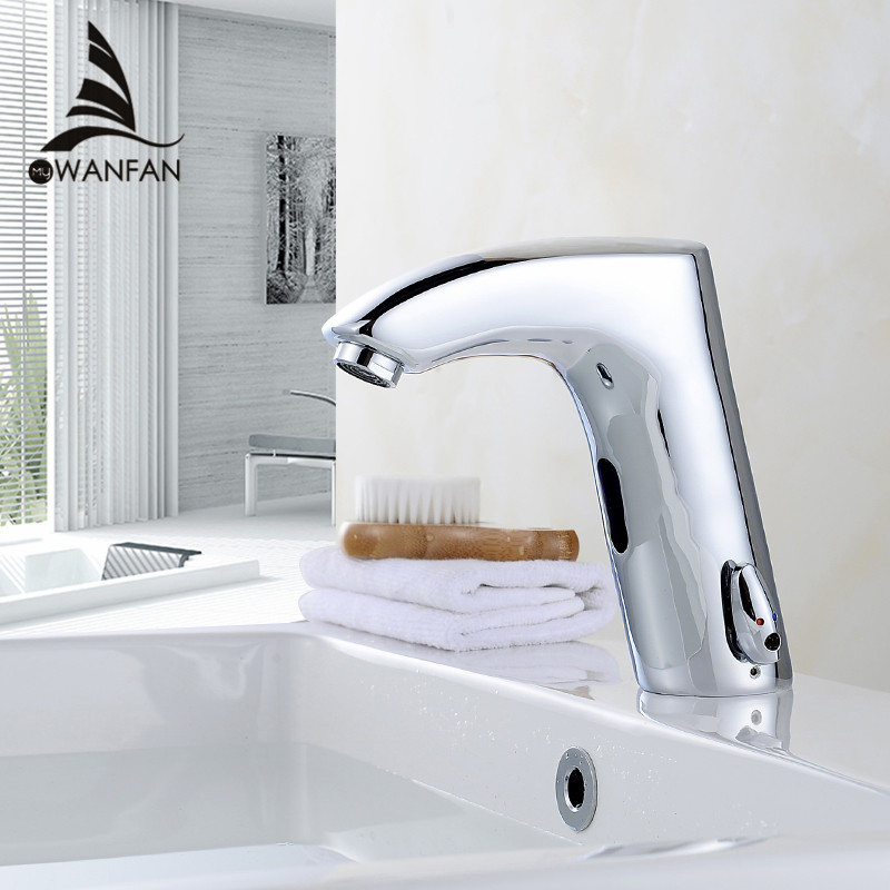 Faucet Sensor High Quality Basin Faucet Chrome Cold & Hot Hand Touch Tap Automatic Inflated Sensor Deck Mounted Tap Mixer 8920