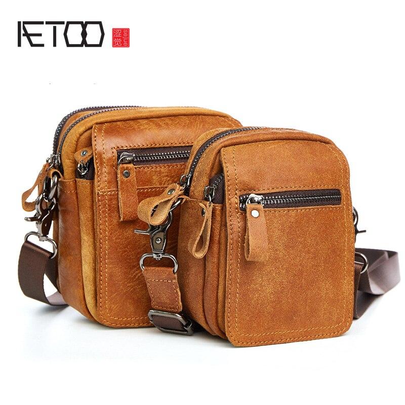 AETOO New leather men bag leisure belt mobile phone pockets multifunctional vertical section shoulder bag men