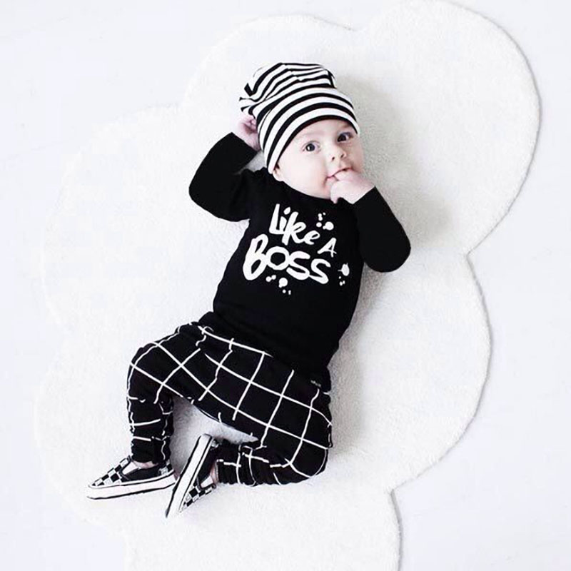 2020 Autumn Style Baby Boy Clothes Newborn Long-sleeved Letter Like A Boss T-shirt+Pants 2 Pcs/Suit Infant Boy Clothing Set