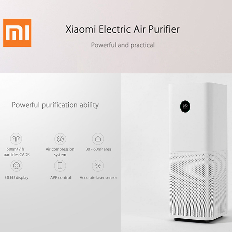 Original Xiaomi 220V Air Purifier Pro OLED Screen Wireless Smartphone APP Control Home Air Cleaning Intelligent Air Purifiers original xiaomi air purifier 2 in addition to formaldehyde haze purifiers intelligent household appliances