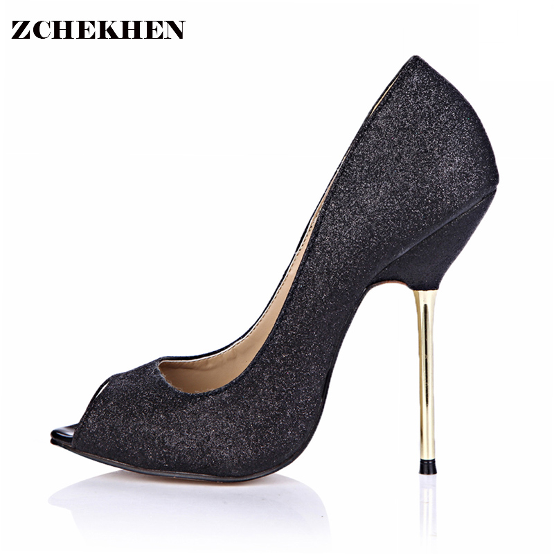 Luxury Women Pumps Bling High Heels Women Pumps Glitter High Heel Shoes Woman Sexy Wedding Party Shoes Gold black 3845-a6 hot sale new fashion luxury real leather women thick heel pumps flock mix color wedding shoes woman flock sexy elegant pumps